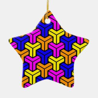 Pink, Dark Blue, Yellow, Orange Geometric Pattern Christmas Ornament