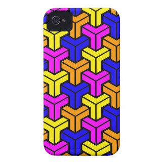 Pink, Dark Blue, Yellow, Orange Geometric Pattern iPhone 4 Covers