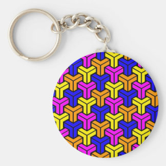 Pink, Dark Blue, Yellow, Orange Geometric Pattern Key Ring