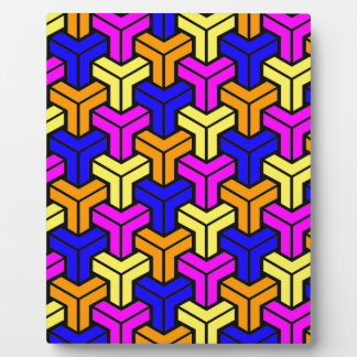 Pink, Dark Blue, Yellow, Orange Geometric Pattern Plaque