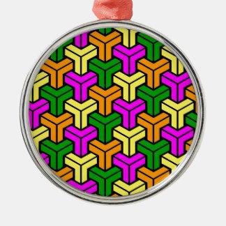 Pink, Dark Green, Yellow, Orange Geometric Pattern Christmas Ornament