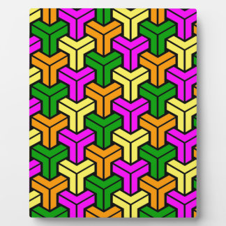 Pink, Dark Green, Yellow, Orange Geometric Pattern Plaque