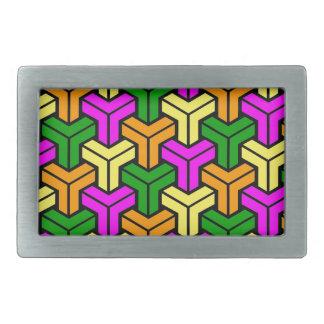Pink, Dark Green, Yellow, Orange Geometric Pattern Rectangular Belt Buckle