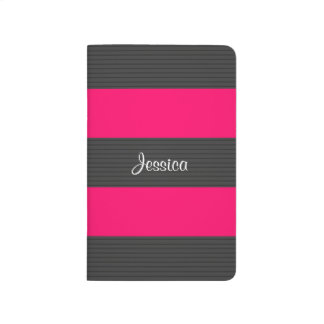 Pink Dark Grey Stripes Journal