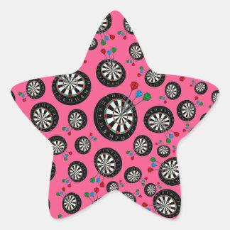 Pink dartboards star sticker