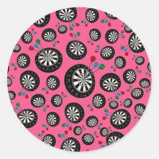 Pink dartboards round stickers
