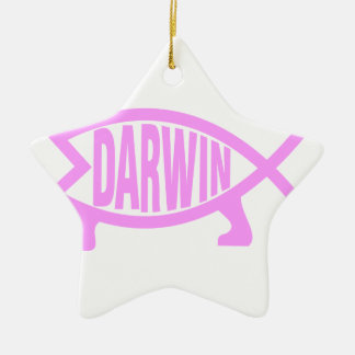Pink Darwin Fish Christmas Ornament