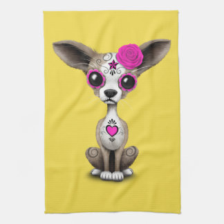Pink Day of the Dead Chihuahua Tea Towel