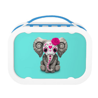 Pink Day of the Dead Elephant Lunchboxes