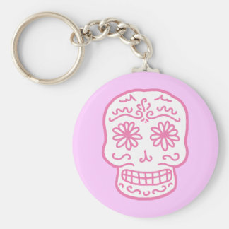 Pink Day of the Dead Skull Basic Round Button Key Ring