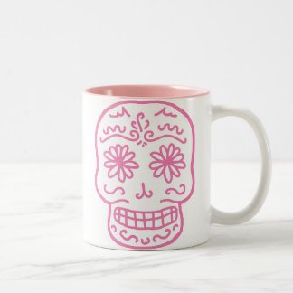 Pink Day of the Dead Skull Coffee Mug