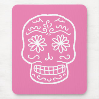 Pink Day of the Dead Skull Mouse Pad