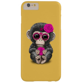 Pink Day of the Dead Sugar Skull Baby Chimp Barely There iPhone 6 Plus Case