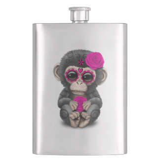 Pink Day of the Dead Sugar Skull Baby Chimp Hip Flask