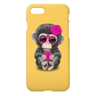 Pink Day of the Dead Sugar Skull Baby Chimp iPhone 7 Case