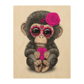 Pink Day of the Dead Sugar Skull Baby Chimp Wood Canvas
