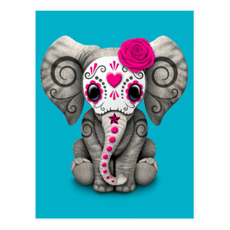 Pink Day of the Dead Sugar Skull Baby Elephant Postcard