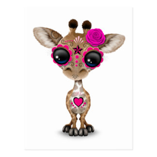 Pink Day of the Dead Sugar Skull Baby Giraffe Postcard