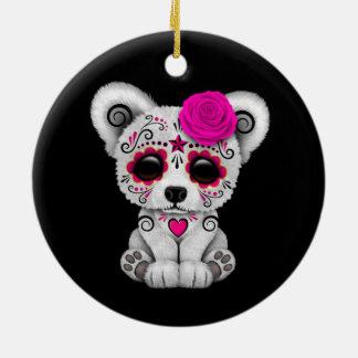Pink Day of the Dead Sugar Skull Bear Black Christmas Ornament