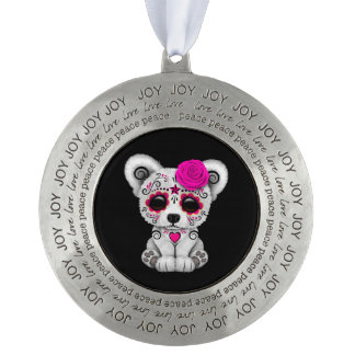 Pink Day of the Dead Sugar Skull Bear Black Round Pewter Ornament