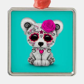 Pink Day of the Dead Sugar Skull Bear Blue Ornament