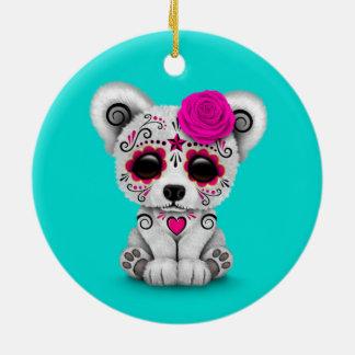 Pink Day of the Dead Sugar Skull Bear Blue Christmas Tree Ornament