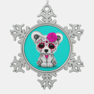 Pink Day of the Dead Sugar Skull Bear Blue Ornaments