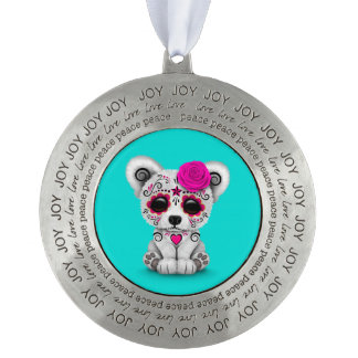 Pink Day of the Dead Sugar Skull Bear Blue Round Pewter Ornament