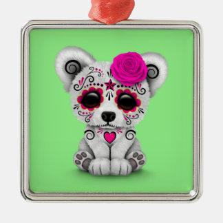 Pink Day of the Dead Sugar Skull Bear Green Ornament