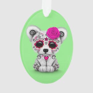 Pink Day of the Dead Sugar Skull Bear Green