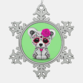 Pink Day of the Dead Sugar Skull Bear Green Ornaments