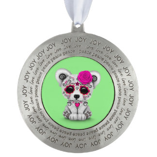 Pink Day of the Dead Sugar Skull Bear Green Round Ornament