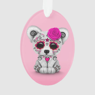 Pink Day of the Dead Sugar Skull Bear Pink