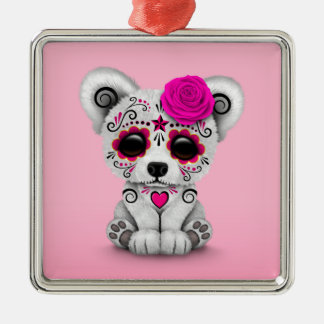 Pink Day of the Dead Sugar Skull Bear Pink Christmas Ornaments