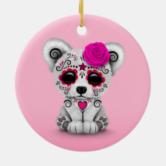 Pink Day of the Dead Sugar Skull Bear Pink Christmas Ornament