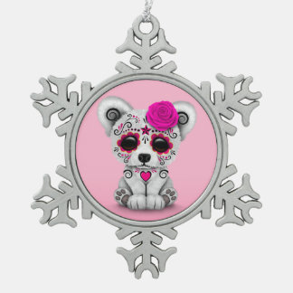 Pink Day of the Dead Sugar Skull Bear Pink Ornament