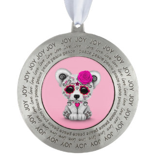 Pink Day of the Dead Sugar Skull Bear Pink Round Ornament