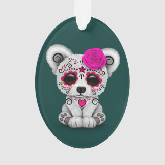 Pink Day of the Dead Sugar Skull Bear Teal Blue