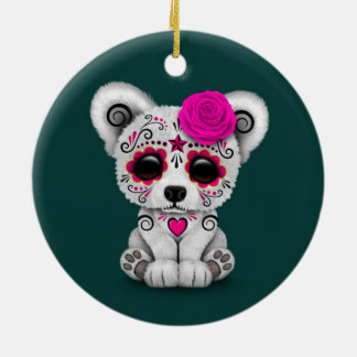 Pink Day of the Dead Sugar Skull Bear Teal Blue Ornament