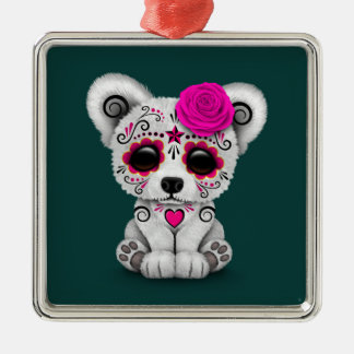 Pink Day of the Dead Sugar Skull Bear Teal Blue Ornaments