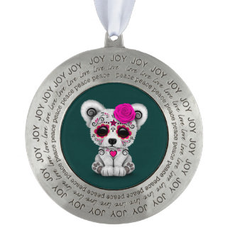 Pink Day of the Dead Sugar Skull Bear Teal Blue Round Pewter Ornament