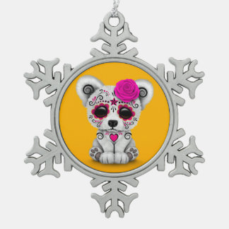 Pink Day of the Dead Sugar Skull Bear Yellow Ornaments