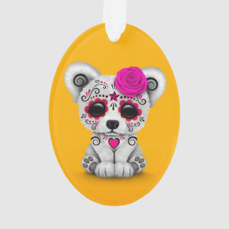 Pink Day of the Dead Sugar Skull Bear Yellow