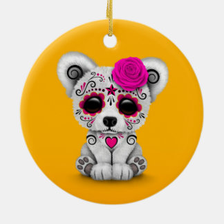 Pink Day of the Dead Sugar Skull Bear Yellow Christmas Ornament