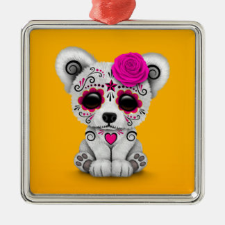Pink Day of the Dead Sugar Skull Bear Yellow Christmas Ornaments