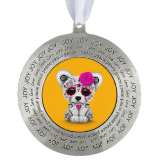 Pink Day of the Dead Sugar Skull Bear Yellow Round Pewter Ornament