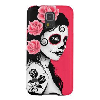 Pink Day of the Dead Sugar Skull Girl Galaxy S5 Case