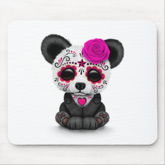 Pink Day of the Dead Sugar Skull Panda on White Mousepad