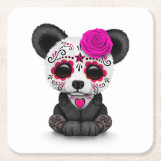 Pink Day of the Dead Sugar Skull Panda on White Square Paper Coaster