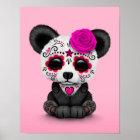Pink Day of the Dead Sugar Skull Panda Poster